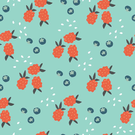 Seamless repeat vector mixed berry fruit pattern with raspberries and blueberries with teal background.