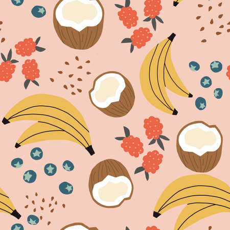 Seamless repeat tropical fruit pattern with coconuts, raspberries, blueberries, seeds with pink background. Vector fruit pattern.