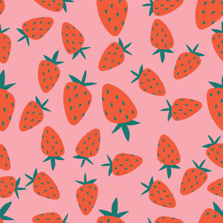 Seamless pattern of red strawberries on pink