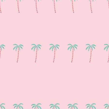 Pink Pastel Palm tree pattern seamless in simple style vector illustration.