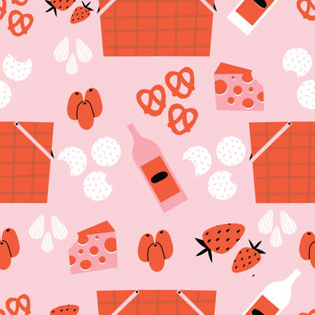 Pink and red picnic seamless repeat pattern with picnic baskets, olives, almonds, pretzels, cheese, crackers, and wine.