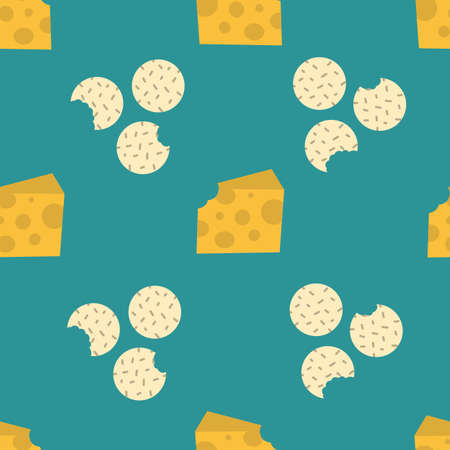 Crackers and cheese with green background. Biscuits seamless repeat vector pattern. 向量圖像