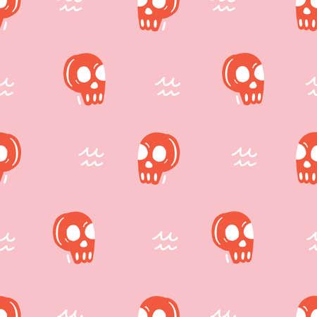 Seamless repeat vector cute red skull head pattern.
