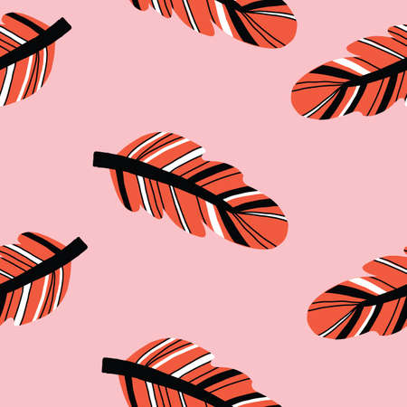 Seamless repeat vector feather pattern in boho style. Vector illustration.