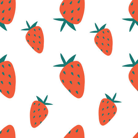 Seamless strawberry pattern. Trendy vector red strawberry pattern texture. Çizim