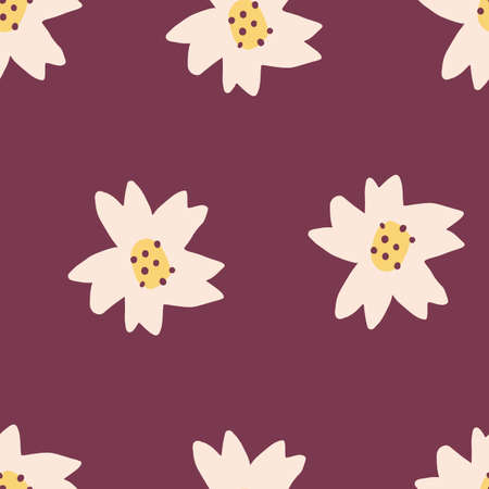 Cute Repeat Tulip Wildflower Pattern with maroon red background. Seamless floral pattern. white tulip. Stylish repeating texture.