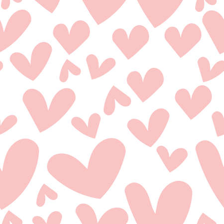 Cute Seamless heart pattern. Red and pink heart background vector pattern.