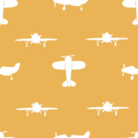 Seamless silhouette airplane pattern. Vector repeat pattern. White and yellow. 向量圖像