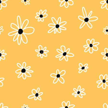 Cute Repeat Daisy Wildflower Pattern with yellow background. Seamless floral pattern. White Daisy. Stylish repeating texture. Repeating texture.