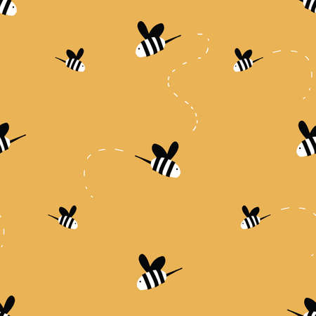 honey bees flying pattern seamless repeat pattern gold background. Vector Illustration. Seamless repeat background.