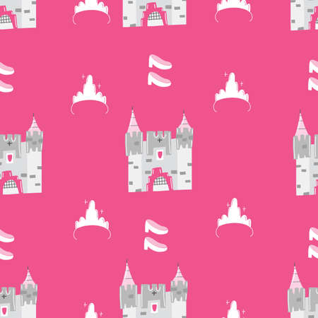 Hand drawn seamless vector pattern for little princess. Background for design, web site, textile, fabric, card and wrapping paper. Girl print.