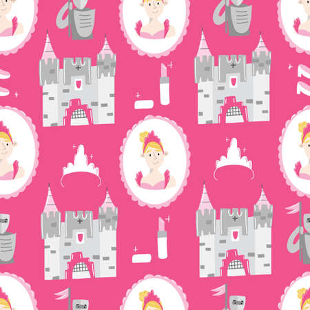 Pink Hand drawn seamless vector pattern for little princesses. Castles, crowns, and lipstick. Background for design, web site, textile, fabric, card and wrapping paper. Girl print. 向量圖像