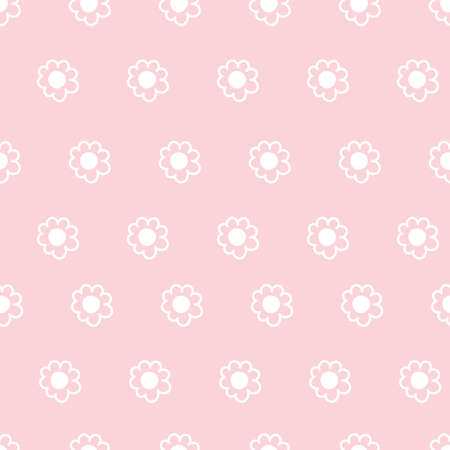 Cute Repeat Daisy Wildflower Pattern with light pink background. Seamless floral pattern. White Daisy. Stylish repeating texture. Repeating texture.
