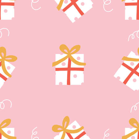 Pink Happy Birthday Seamless Repeat Pattern with presents gifts doodles. Light fun birthday pattern with polka dots. 向量圖像