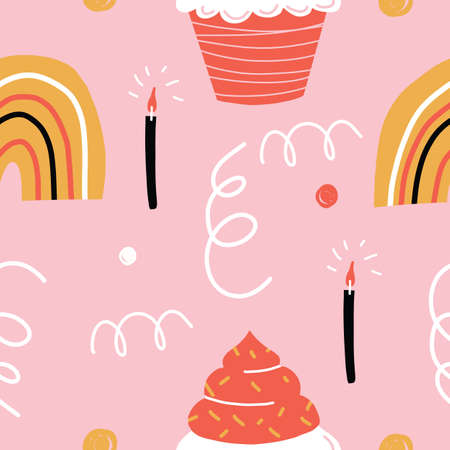 Pink Happy Birthday Seamless Repeat Pattern with Candles doodles cupcakes and rainbows.
