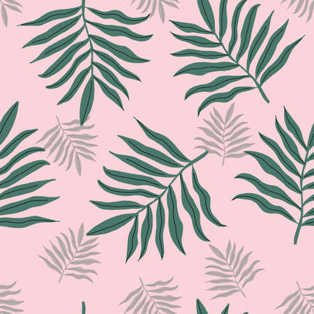 seamless green and pink tropical palm leaves beach pattern. repeating vector beach pattern.