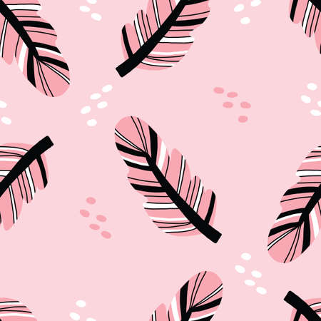 Pink and black Seamless repeat vector feather pattern in boho style. Vector illustration.