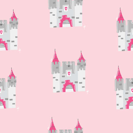Pink Hand drawn seamless vector illustration pattern for little princesses with castle, lipstick, knight in armor, tiara, and blonde princess.