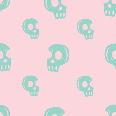 Seamless repeat vector cute pink and teal skull head pattern.