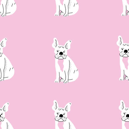 Seamless repeat vector frenchton frenchie dog pattern with pink and black colors. 向量圖像