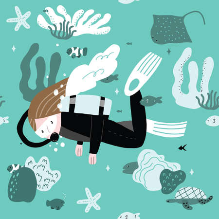 Seamless repeat Blue pattern of scuba diving cartoon girl with coral and fishes. 向量圖像