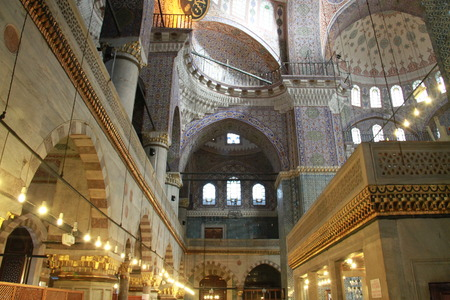 shinning light: Inside Rrustem pasa mosque in Istanbul, Turkey