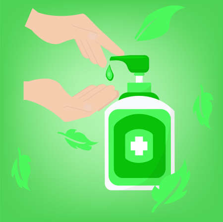 Hand sanitizer, hand sanitation concept banner. vector illustration please Wash your hands mandatory sign