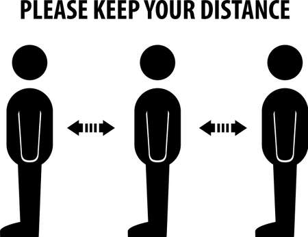 Please Keep Your Distance,notice Illustration