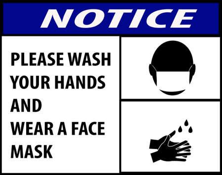 avis de se laver les mains et de porter un masque