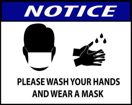 avis pour se laver les mains et porter un masque pour la sécurité Vecteurs