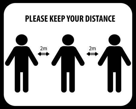 Please Keep Your Distance, sign and sticker vector.social distancing and infection risk reduction concept