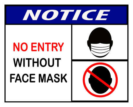 no entry without face mask ,icon, notice or clip art