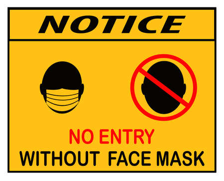 no entry without face mask,icon, notice or mandatory sign Vector Illustration