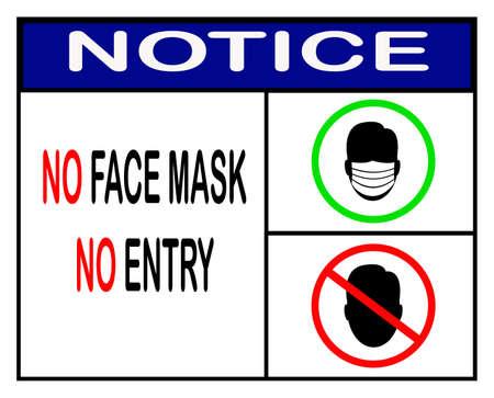 no face mask no entry,notice or mandatory sign vector