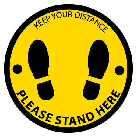 keep distance,please stand here,icon, notice or clip art