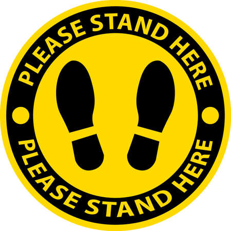 please stand here , icon, notice or clip art,sign