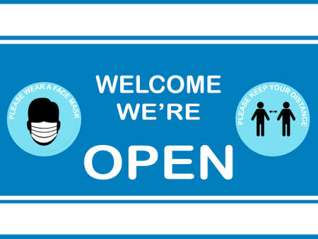attention Welcome we're open ,please keep distance and  please wear Face mask Vettoriali