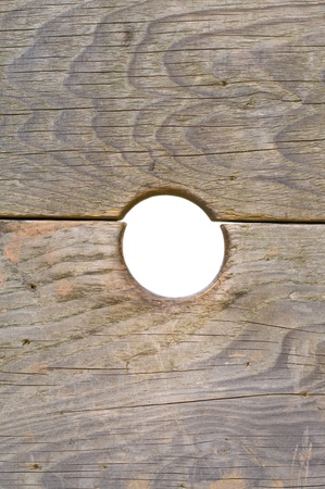 knothole: Close-up of a board with a knothole Stock Photo