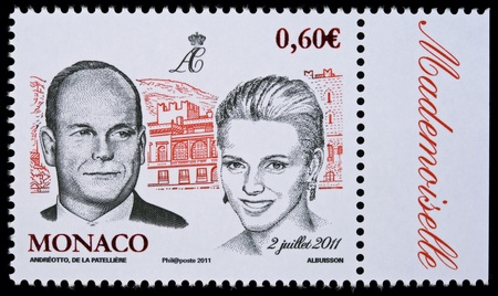 MONACO – CIRCA 2 JULY 2011: Postal stamp printed in Monaco showing Prince Albert II and Charlene Wittstock, circa 2 July 2011 Editorial