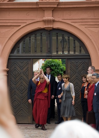 SELIGENSTADT, GERMANY – AUGUST 22: His Holiness the 14th Dalai Lama visits the former Benedictine Monastery of Seligenstadt during a visit in Germany on August 22, 2011 in Seligenstadt, Germany.