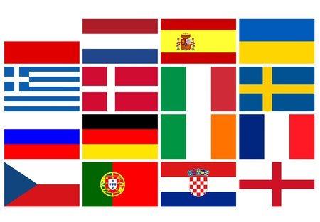 National team flags European football championship 2012. Flags from all 16 participating countries, sorted vertically according to groups photo