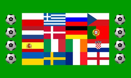all european flags: National team flags European football championship 2012. Flags from all 16 participating countries, sorted horizontally according to groups