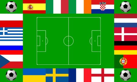 National team flags European football championship 2012. Flags from all 16 participating countries, sorted round an illustration of a soccer field according to groups illustration