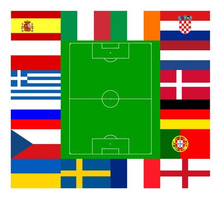 all european flags: National team flags European football championship 2012. Flags from all 16 participating countries, sorted round an illustration of a soccer field according to groups