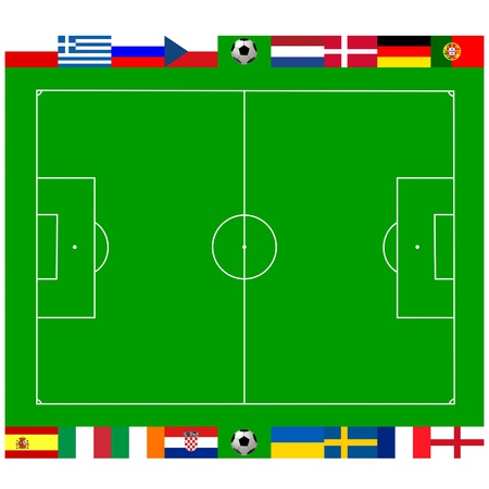 National team flags European football championship 2012. Flags from all 16 participating countries, sorted round an illustration of a soccer field according to groups Stock Illustration - 11771517