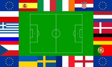 National team flags European football championship 2012. Flags from all 16 participating countries and the flag of Europe, sorted round an illustration of a soccer field according to groups illustration