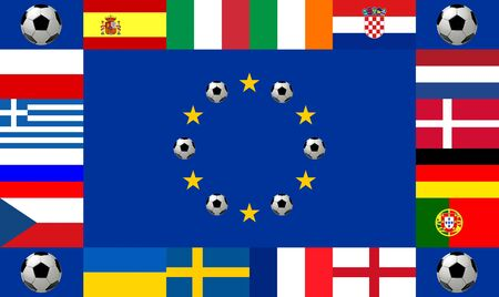 all european flags: National team flags European football championship 2012. Flags from all 16 participating countries, sorted round a flag of Europe with soccer balls according to groups Stock Photo
