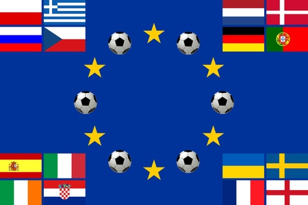 all european flags: National team flags European football championship 2012. Flags from all 16 participating countries sorted according to groups on a flag of Europe with soccer balls