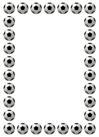 Soccer ball or football frame with place for text, white background