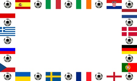 according: Frame football championship 2012. Frame, composed of the flags from all 16 participating countries, sorted according to groups, and soccer balls or footballs, with place for text, white background